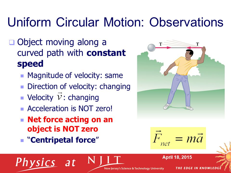 April 18, 2015 Uniform Circular Motion: Observations  Object moving along a curved path with constant speed Magnitude of velocity: same Direction of