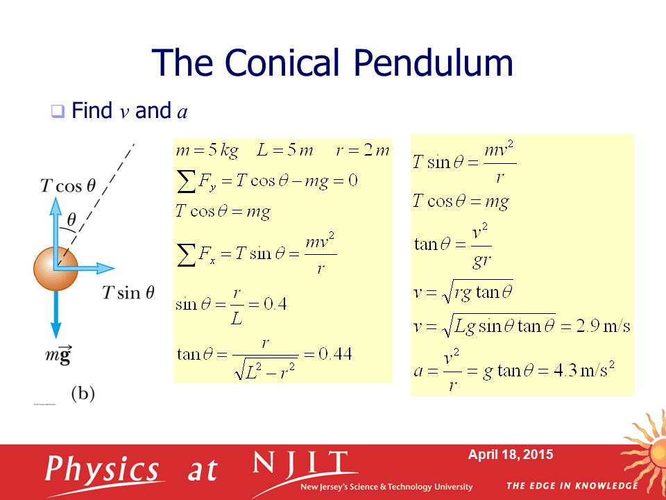 April 18, 2015 The Conical Pendulum  Find v and a