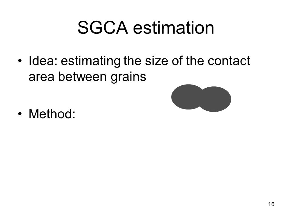 16 SGCA estimation Idea: estimating the size of the contact area between grains Method: