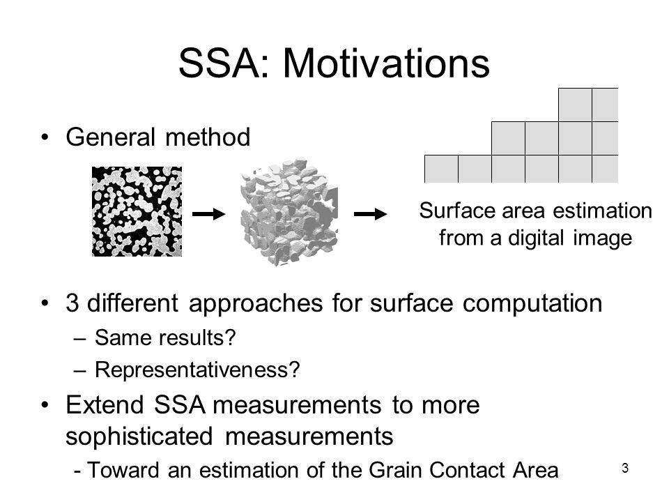 3 SSA: Motivations General method 3 different approaches for surface computation –Same results? –Representativeness? Extend SSA measurements to more s