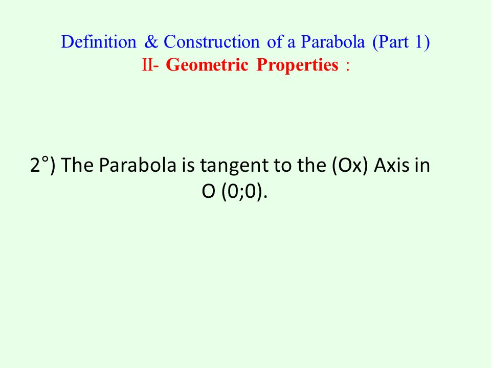 2°) The Parabola is tangent to the (Ox) Axis in O (0;0).