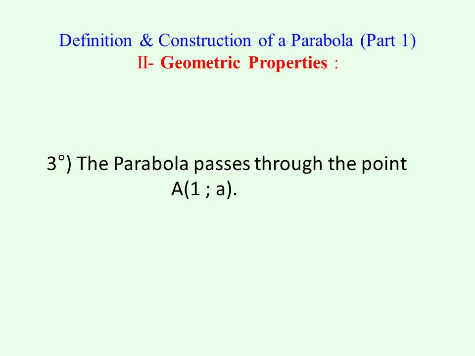 3°) The Parabola passes through the point A(1 ; a).