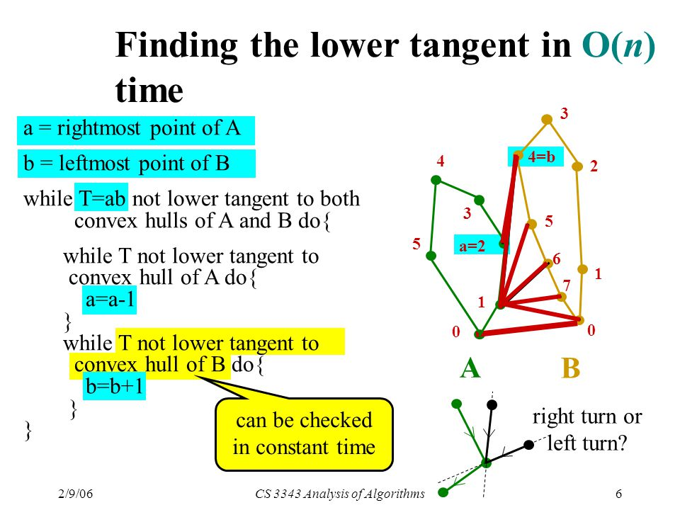 2/9/06CS 3343 Analysis of Algorithms6 can be checked in constant time right turn or left turn.