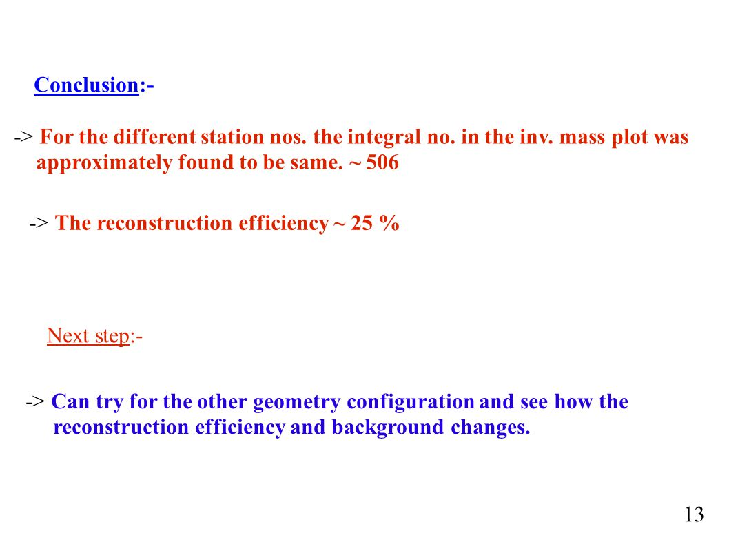 Conclusion:- -> For the different station nos. the integral no.
