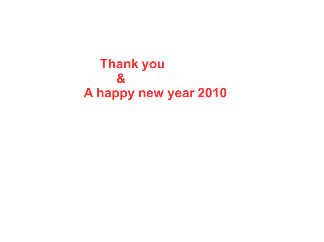 Thank you & A happy new year 2010