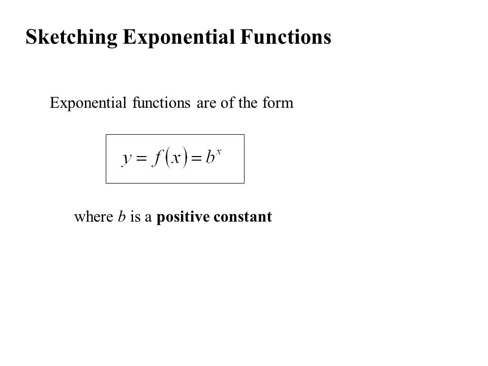 Sketching Exponential Functions Exponential functions are of the form where b is a positive constant