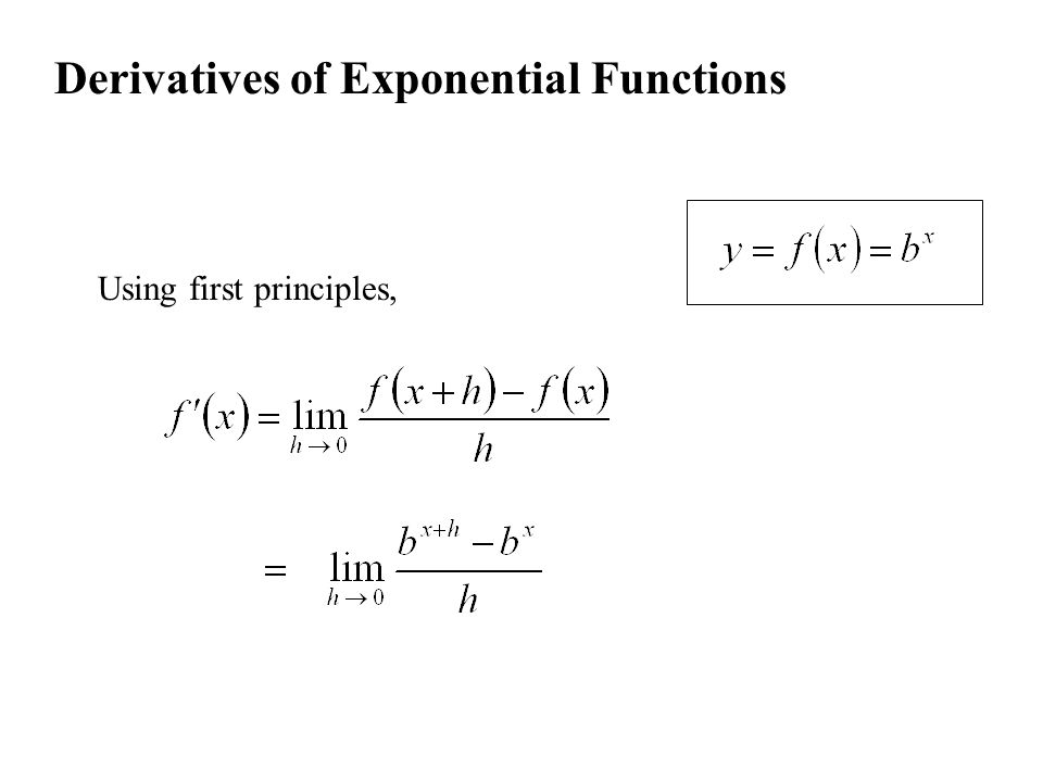 Derivatives of Exponential Functions Using first principles,