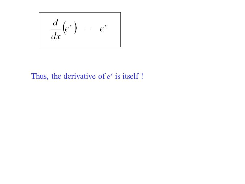 Thus, the derivative of e x is itself !