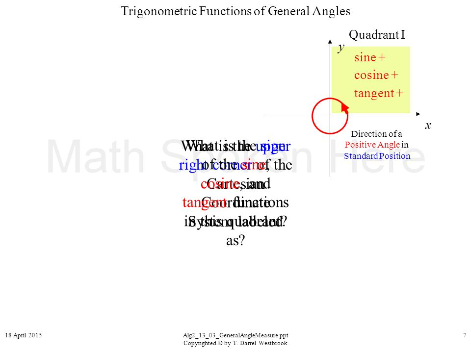 Trigonometric Functions of General Angles 18 April 2015Alg2_13_03_GeneralAngleMeasure.ppt Copyrighted © by T.