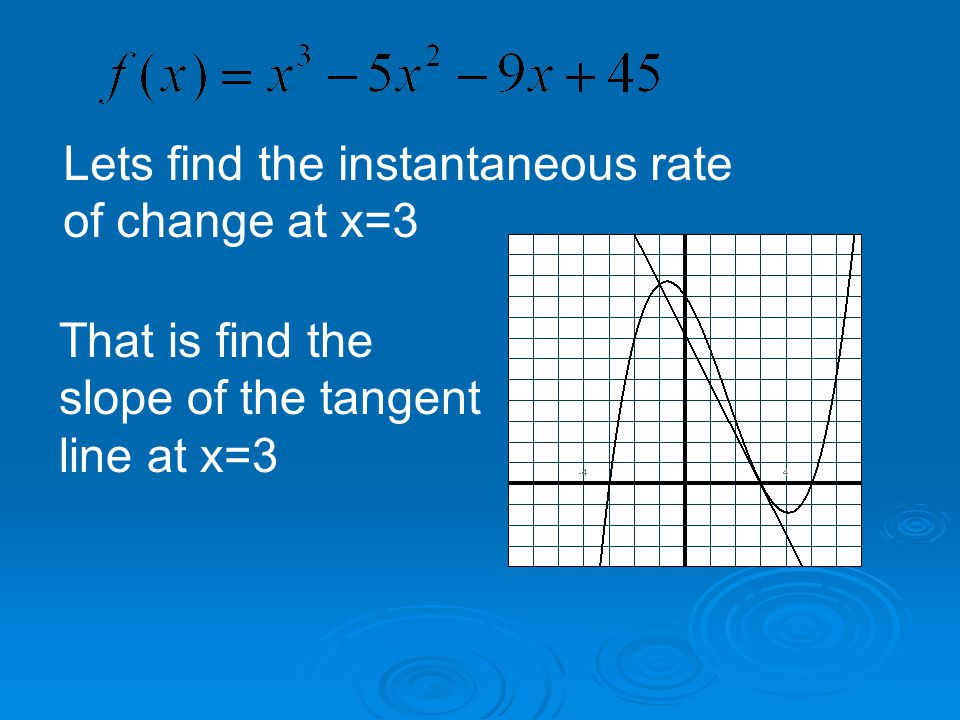 Lets find the instantaneous rate of change at x=3 That is find the slope of the tangent line at x=3