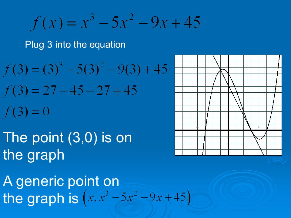 Plug 3 into the equation The point (3,0) is on the graph A generic point on the graph is