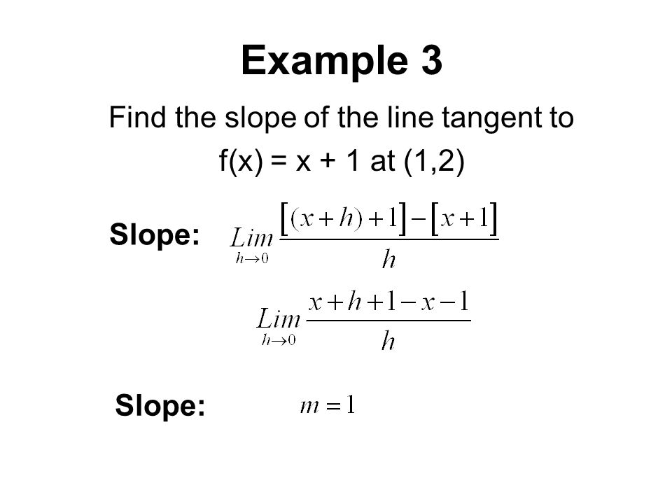 Example 3 Find the slope of the line tangent to f(x) = x + 1 at (1,2) Slope: