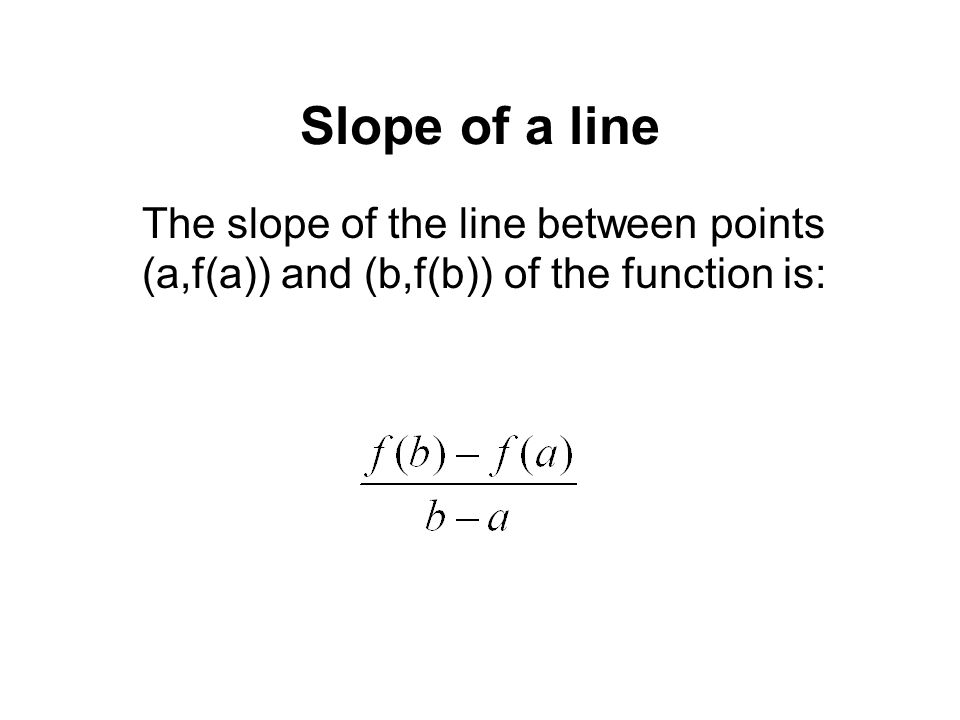 Slope of a line The slope of the line between points (a,f(a)) and (b,f(b)) of the function is: