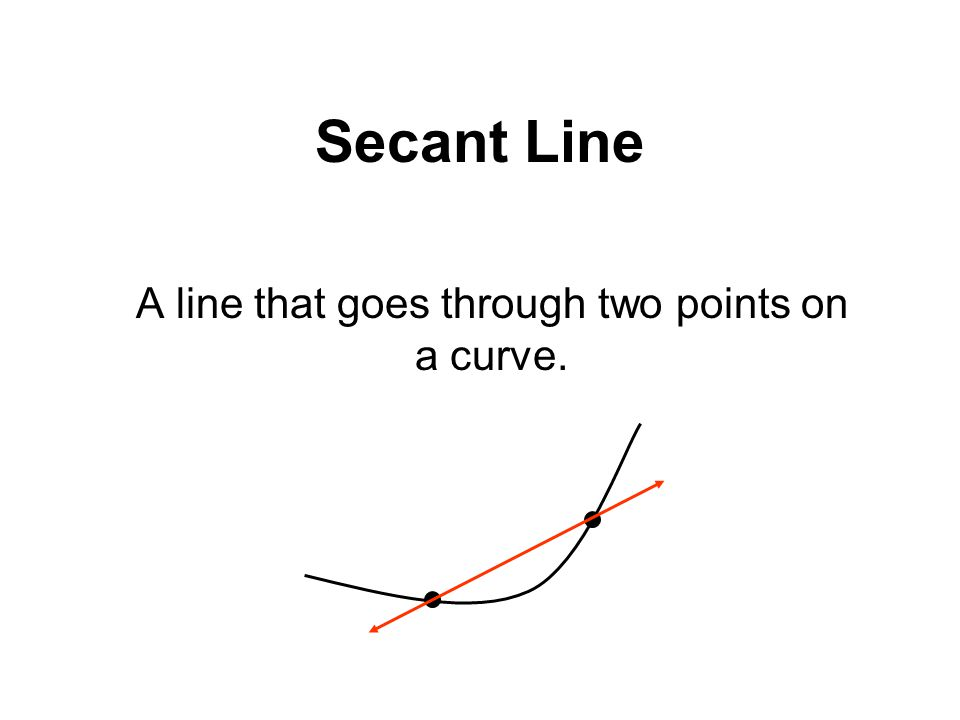 Secant Line A line that goes through two points on a curve.