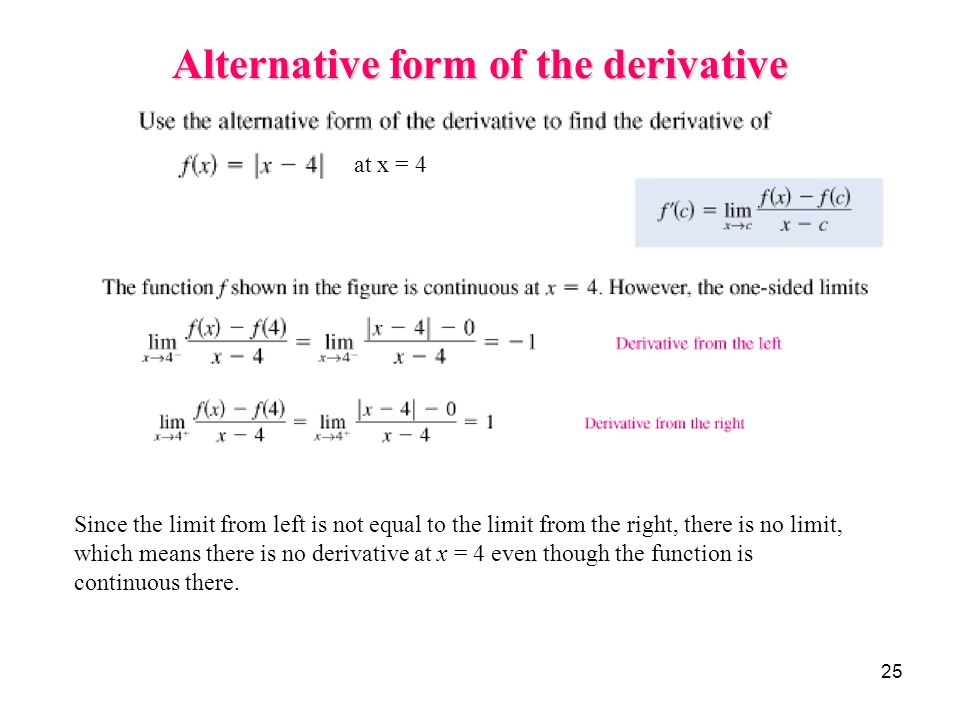 25 Alternative form of the derivative at x = 4 Since the limit from left is not equal to the limit from the right, there is no limit, which means ther