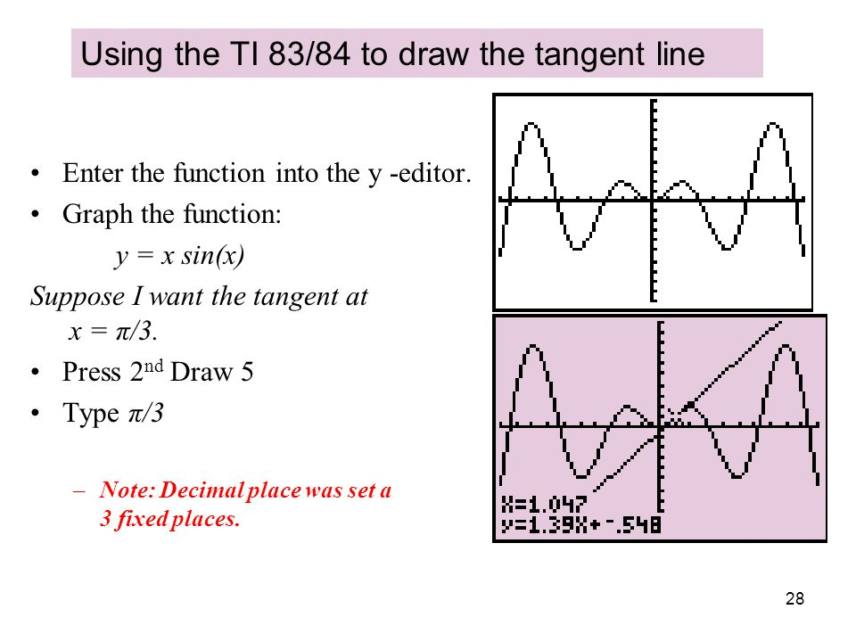 28 Using the TI 83/84 to draw the tangent line Enter the function into the y -editor. Graph the function: y = x sin(x) Suppose I want the tangent at x