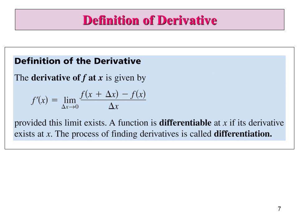 7 Definition of Derivative