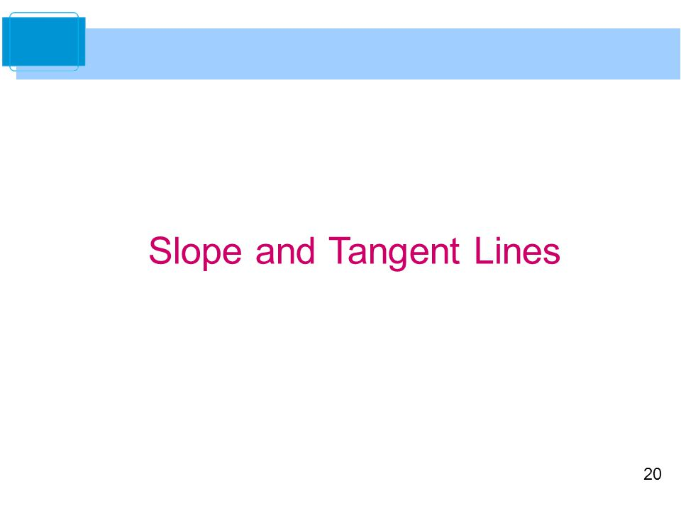 20 Slope and Tangent Lines