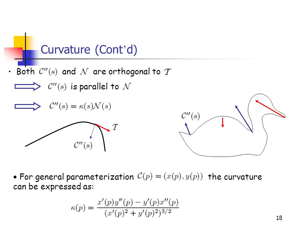 18 Curvature (Cont ' d) For general parameterization the curvature can be expressed as: Both and are orthogonal to is parallel to