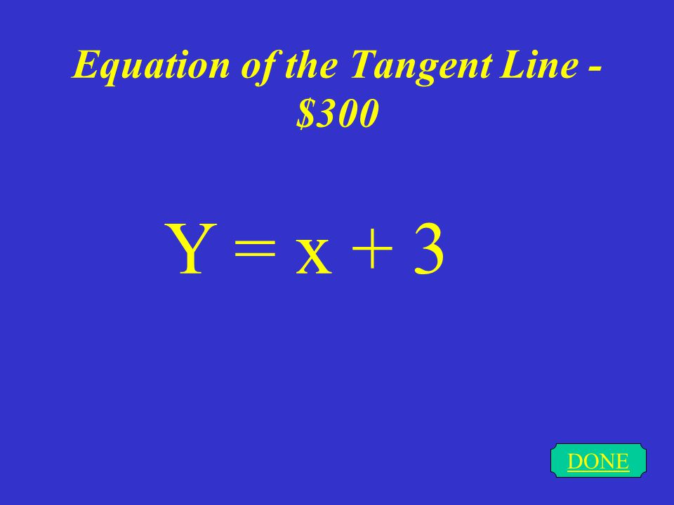 Equation of the Tangent Line - $200 DONE Y = 77.222x + 235.667