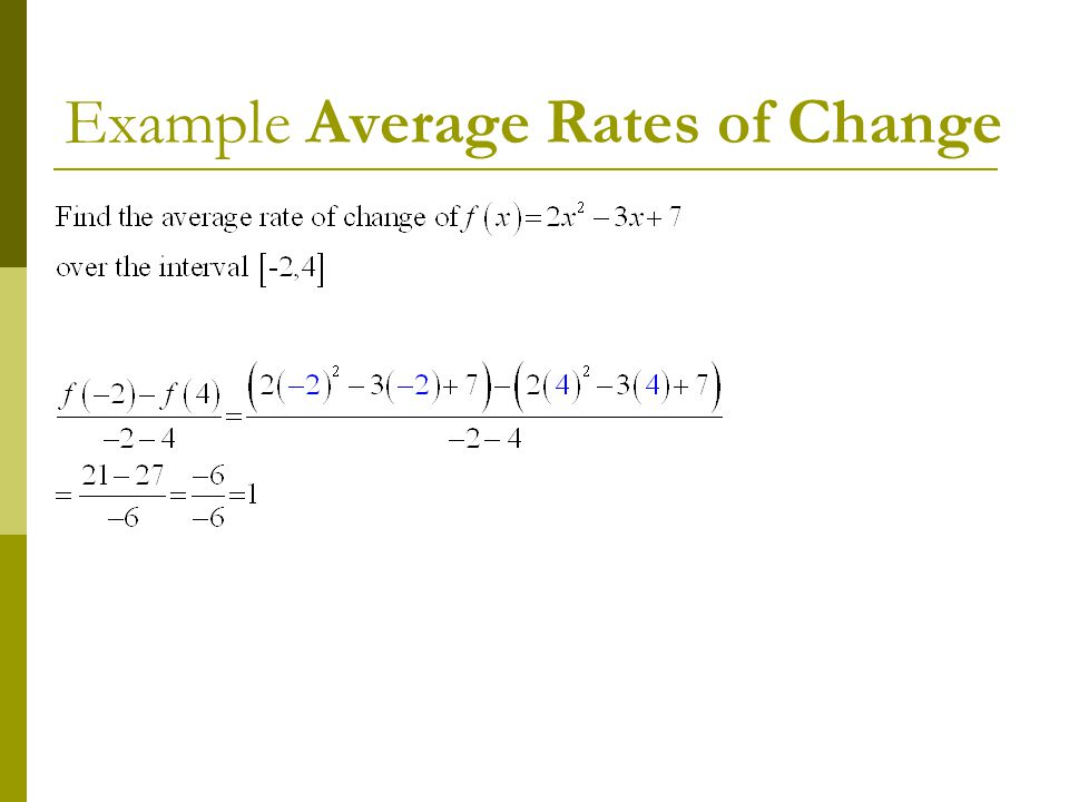 Example Average Rates of Change