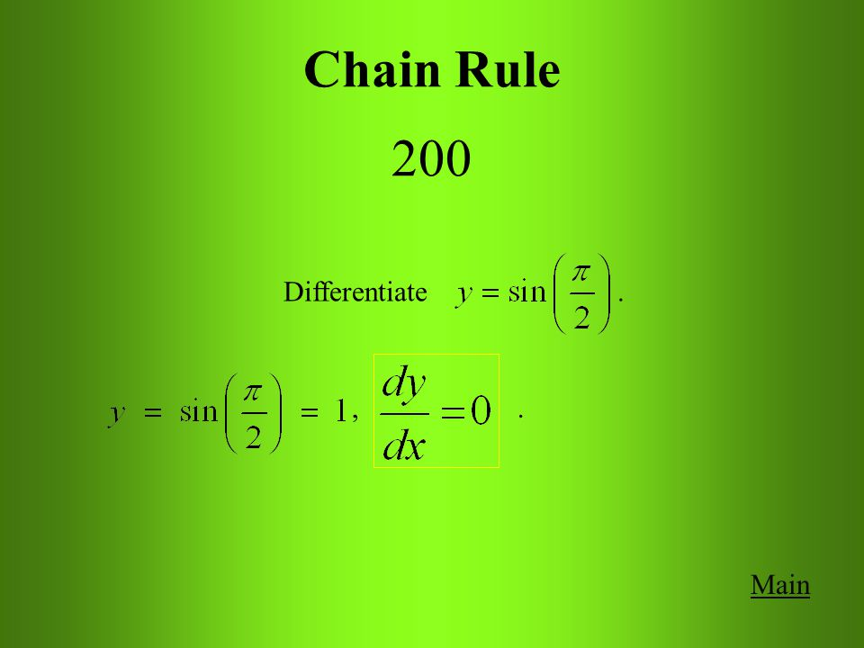 Main Get Answer Chain Rule 200 Differentiate.
