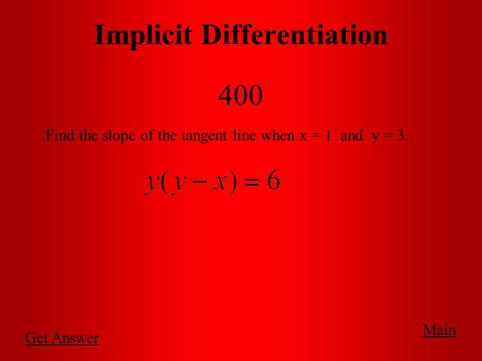 Main Implicit Differentiation 300 Find in its simplest form.