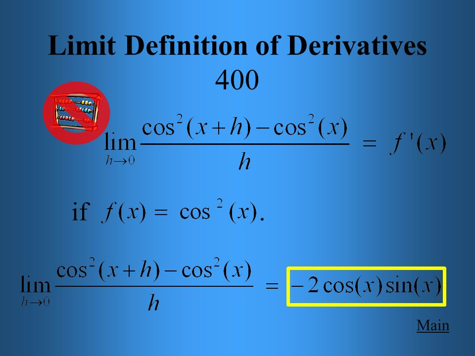 Main Get Answer Limit Definition of Derivatives 400