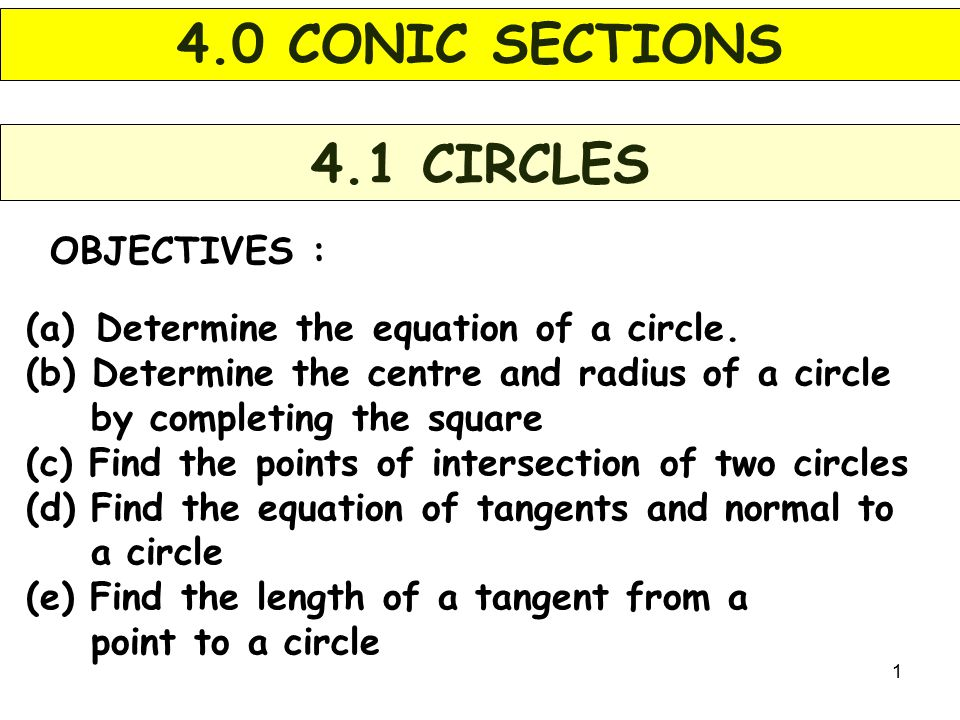 1 OBJECTIVES : 4.1 CIRCLES (a) Determine the equation of a circle.