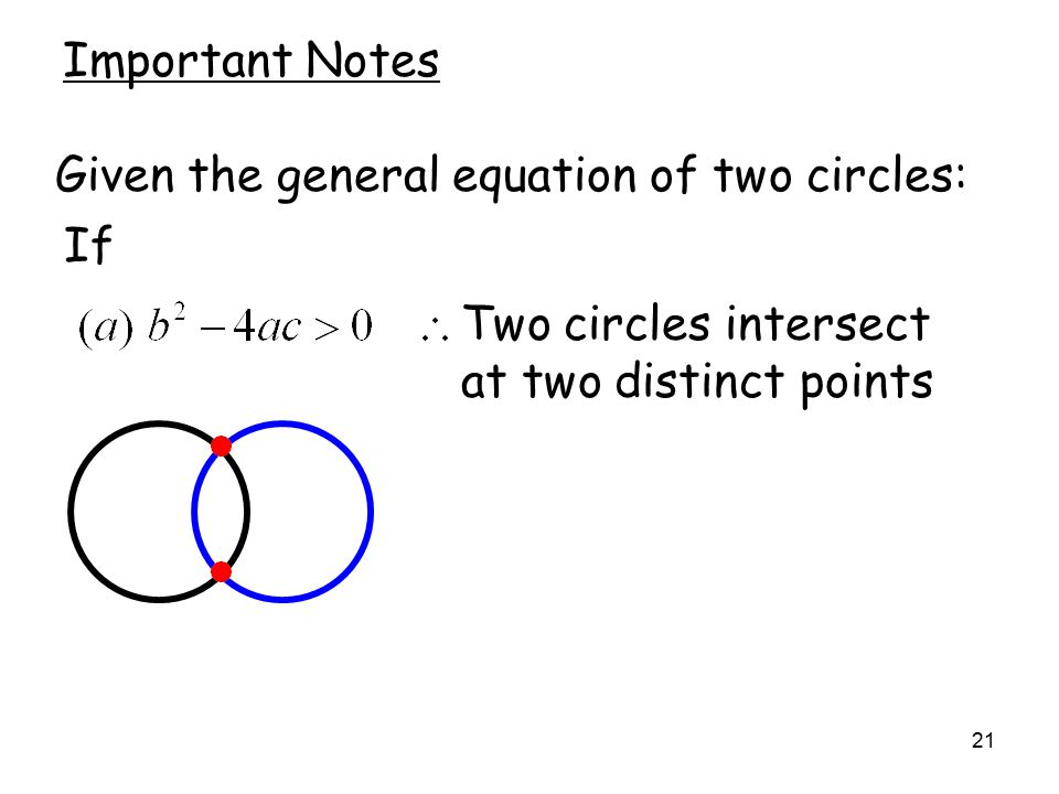 21 Important Notes Given the general equation of two circles: If Two circles intersect at two distinct points