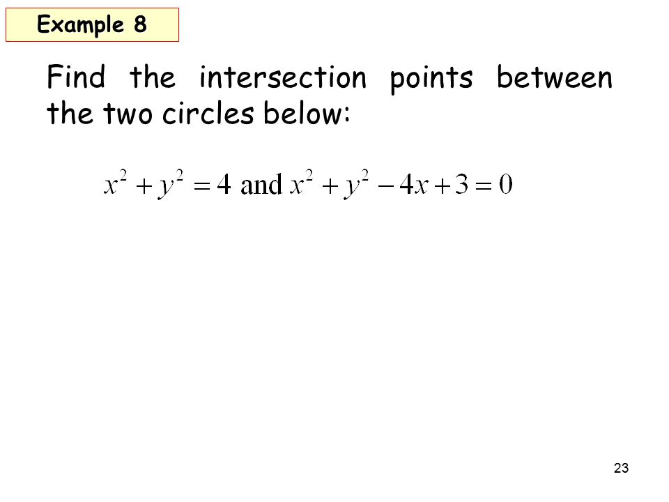 Find the intersection points between the two circles below: 23 Example 8