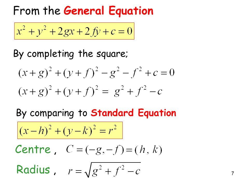 From the General Equation By completing the square; Centre, Radius, By comparing to Standard Equation 7