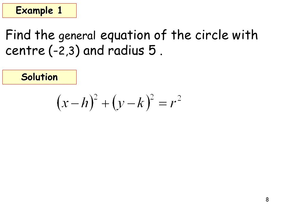 8 Find the general equation of the circle with centre (- 2,3 ) and radius 5. Example 1 Solution