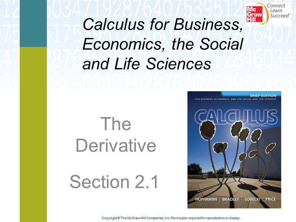 Learning Objectives  Examine slopes of tangent lines and rates of change  Define the derivative, and study its basic properties  Compute and interpret a variety of derivatives using the definition  Study the relationship between differentiability and continuity
