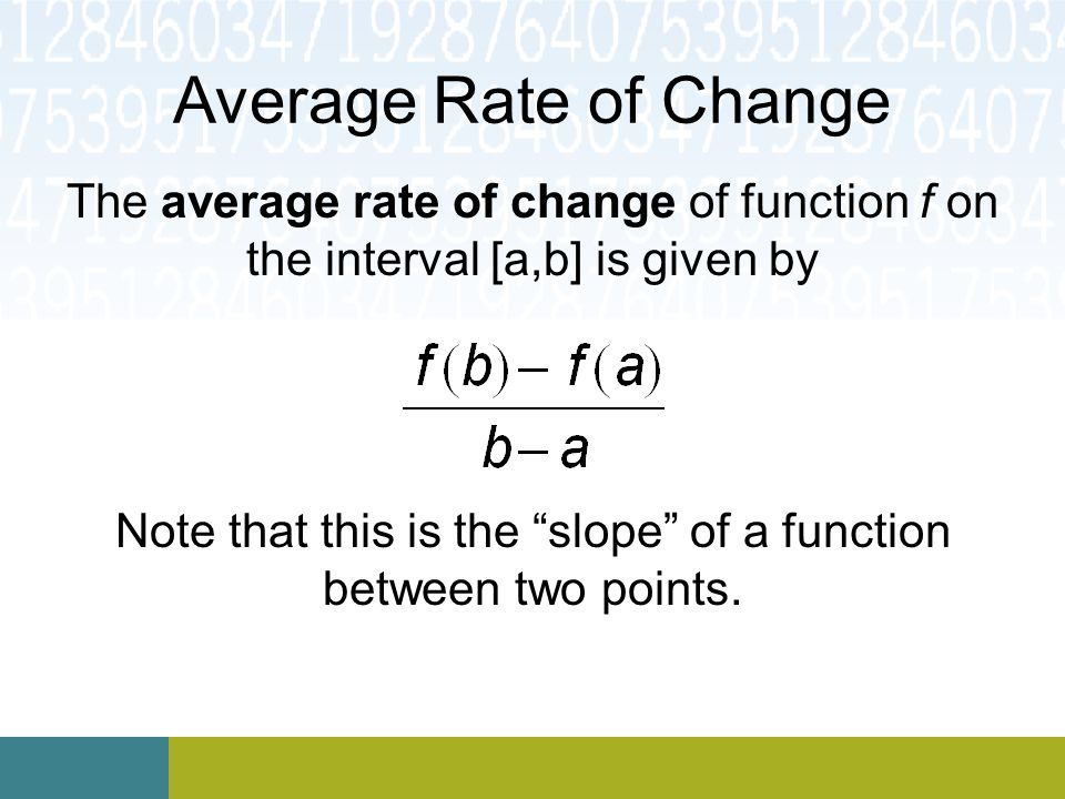 The Derivative The derivative of function f is given by At a point c, is the slope of the tangent line to f at c.