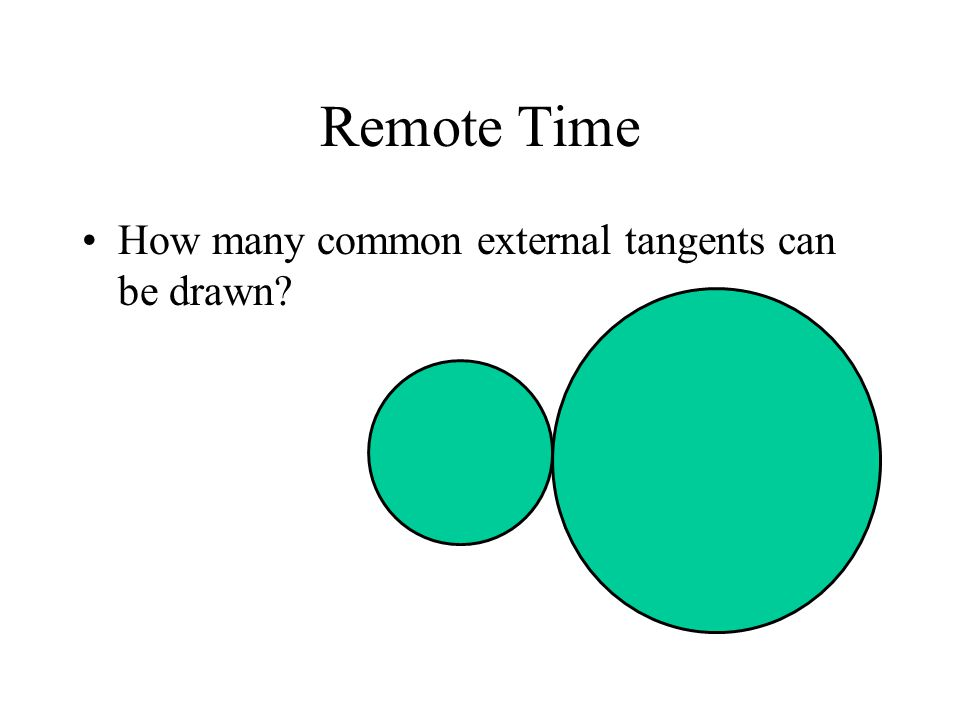 Remote Time How many common external tangents can be drawn?