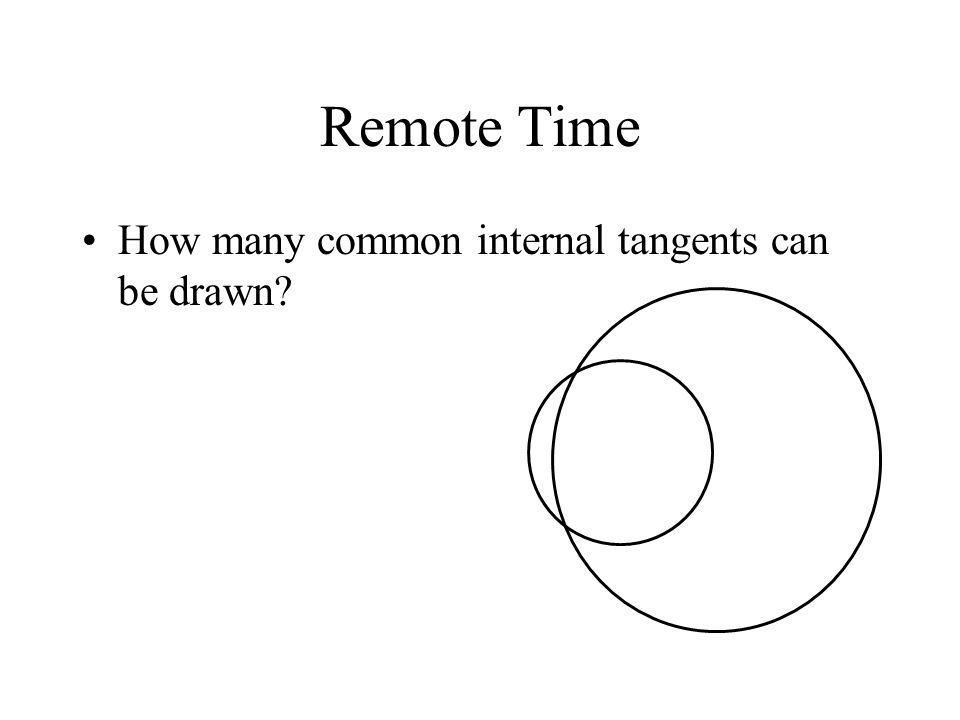 Remote Time How many common internal tangents can be drawn?