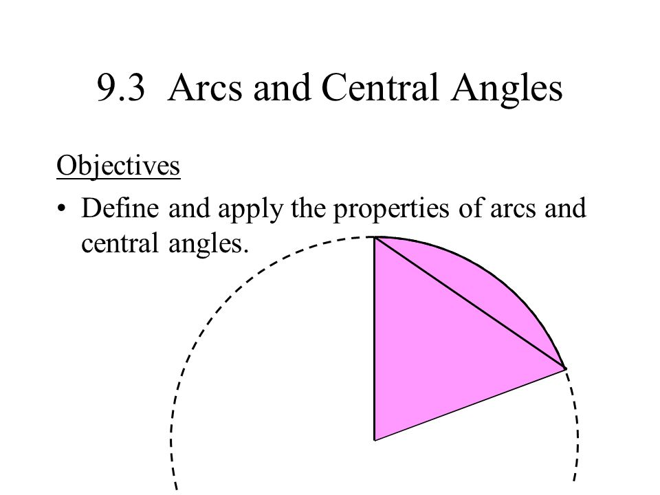9.3 Arcs and Central Angles Objectives Define and apply the properties of arcs and central angles.