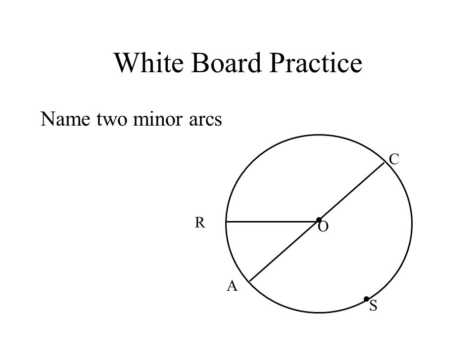 White Board Practice Name two minor arcs R C S A O