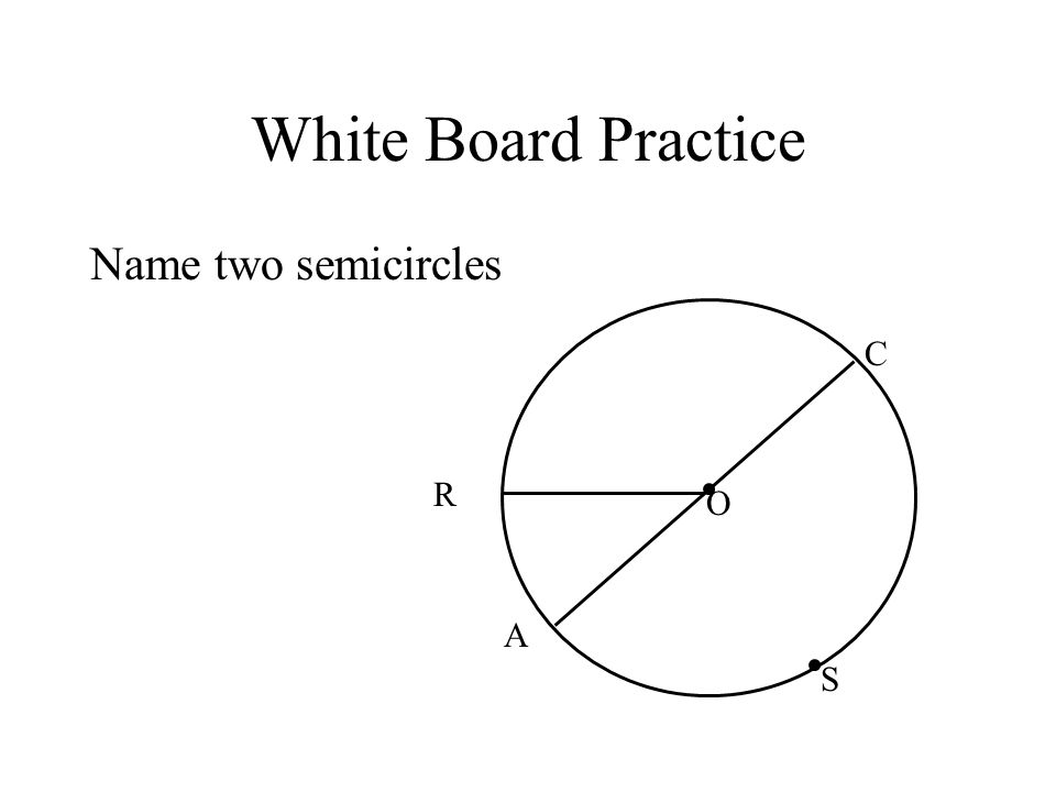 White Board Practice Name two semicircles R C S A O