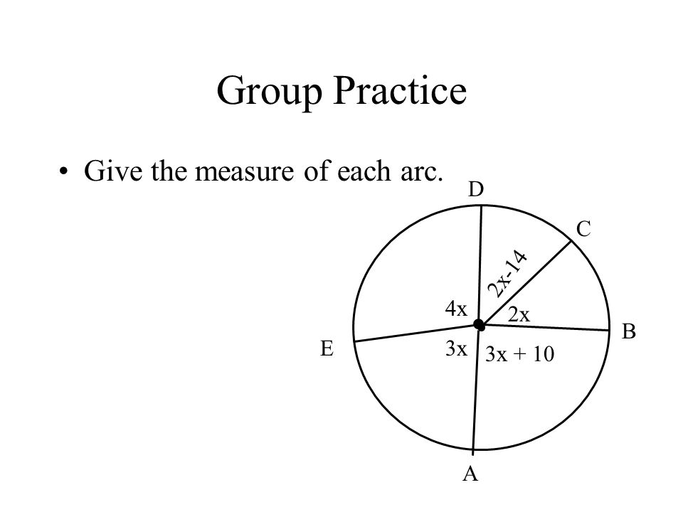Group Practice Give the measure of each arc. 4x 3x 3x + 10 2x 2x-14 A B C D E