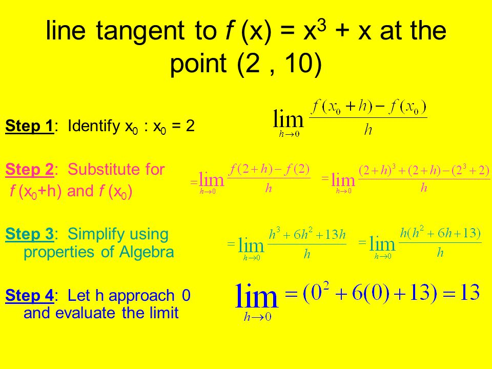line tangent to f (x) = x 3 + x at the point (2, 10) Step 1: Identify x 0 : x 0 = 2 Step 2: Substitute for f (x 0 +h) and f (x 0 ) Step 3: Simplify us