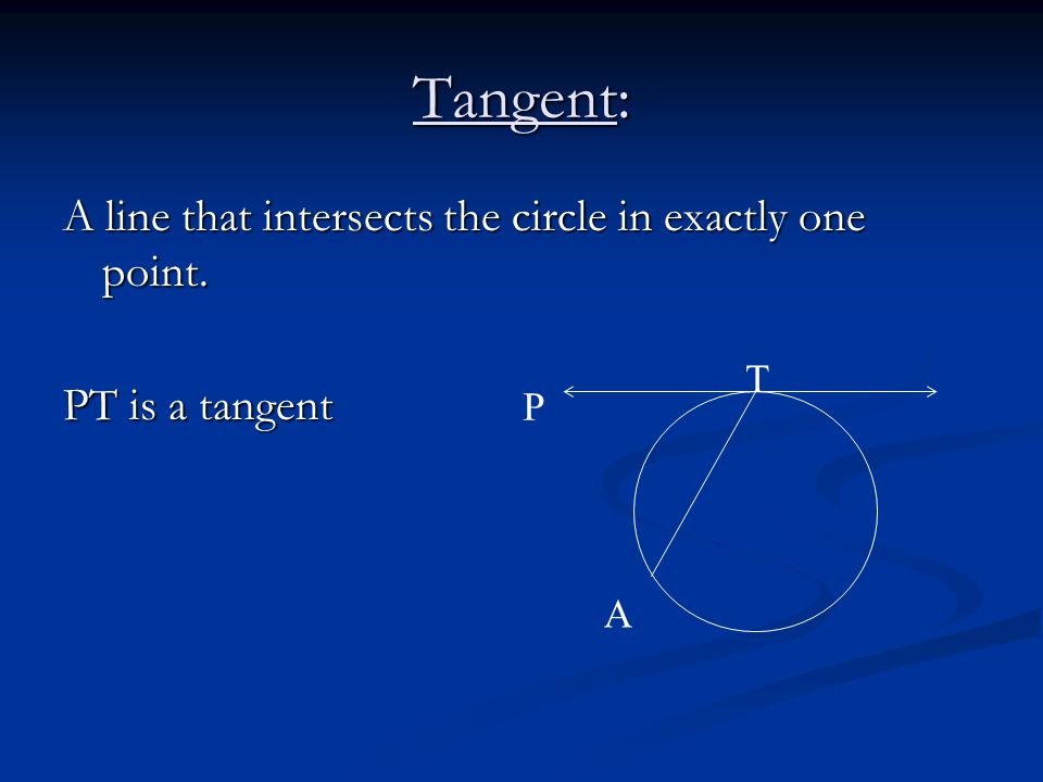 Tangent: A line that intersects the circle in exactly one point. PT is a tangent P T A
