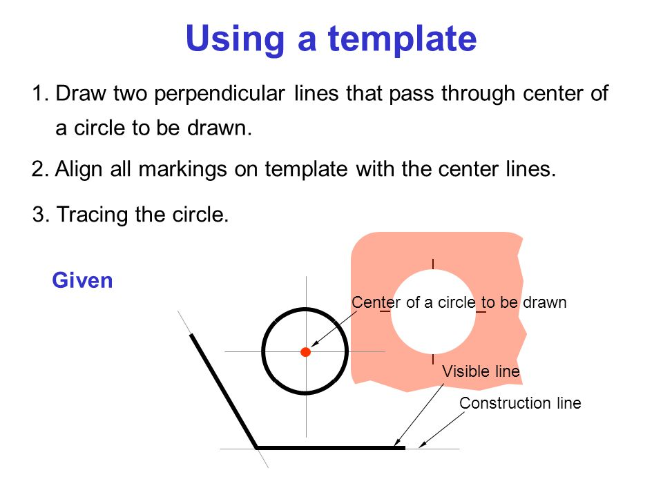 1. Draw two perpendicular lines that pass through center of a circle to be drawn. Construction line Visible line 2. Align all markings on template wit