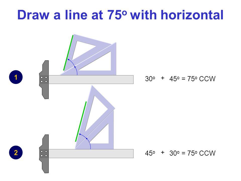 Draw a line at 75 o with horizontal 1 2 + 30 o 45 o = 75 o CCW + 45 o 30 o = 75 o CCW