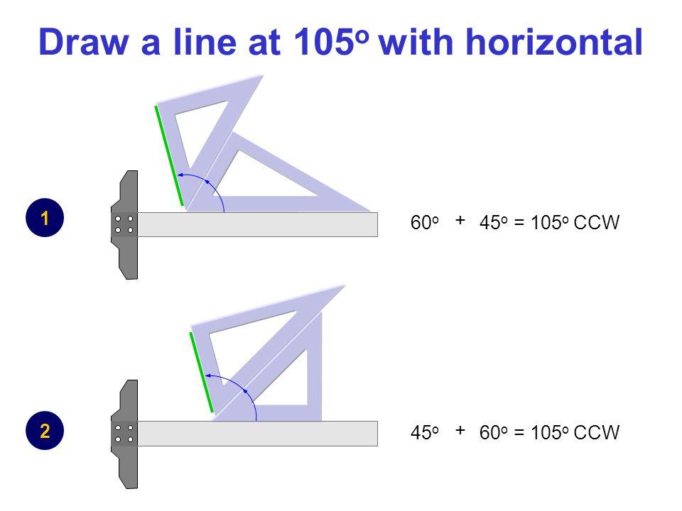 Draw a line at 105 o with horizontal 1 2 + 60 o 45 o = 105 o CCW + 45 o 60 o = 105 o CCW