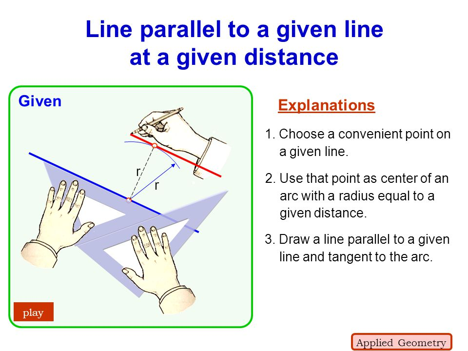 r Line parallel to a given line at a given distance Given play Explanations 3. Draw a line parallel to a given line and tangent to the arc. 1. Choose