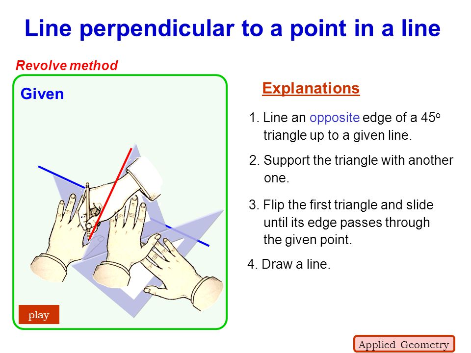 + C Line perpendicular to a point in a line Revolve method Given play Explanations 3. Flip the first triangle and slide until its edge passes through