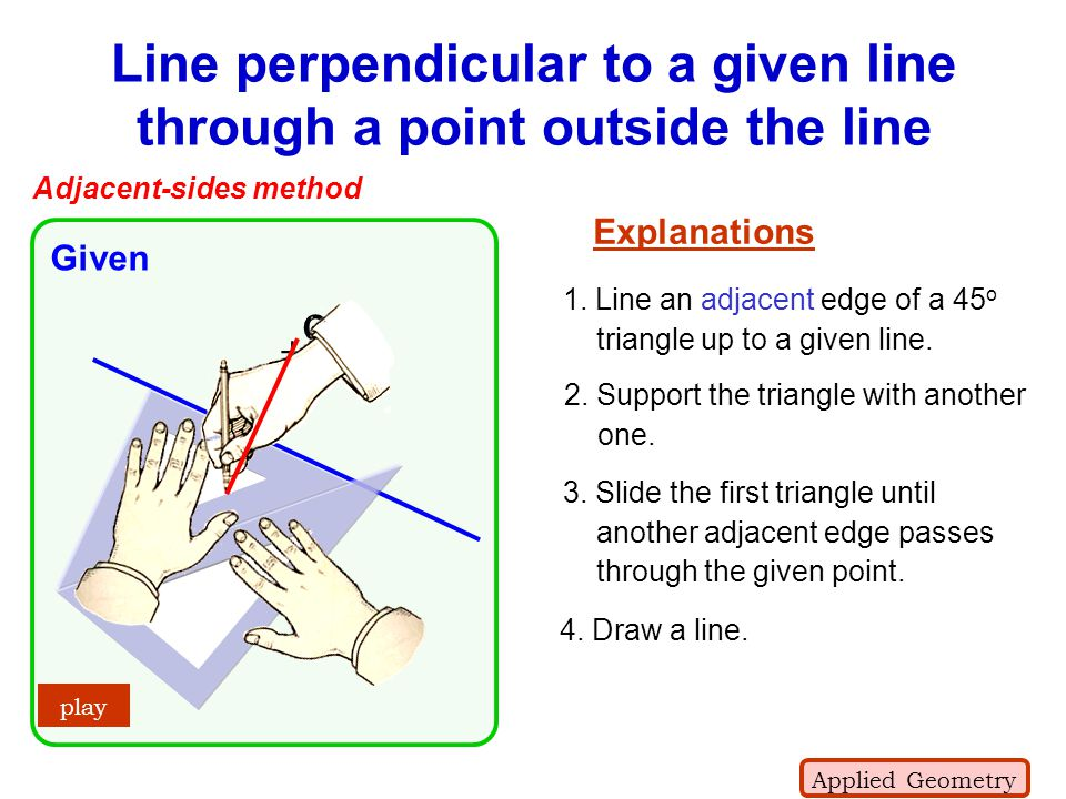 Line perpendicular to a given line through a point outside the line + C Given play Adjacent-sides method Explanations 3. Slide the first triangle unti
