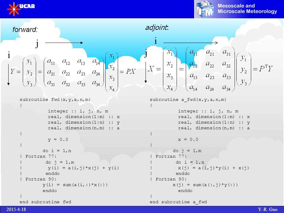 2015-4-18 Y.-R. Guo adjoint: i j subroutine a_fwd(x,y,a,n,m) .